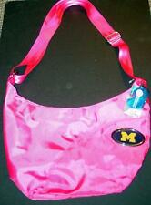 New Michigan Wolverines LARGE Grommet HOT PINK Hobo Cross Body Purse Bag G03