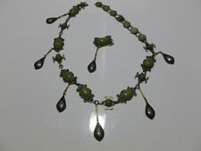 HODGE PODGE OF MEXICAN MEXICO STERLING SILVER SIAM GF NECKLACE BRACELET SET JADE