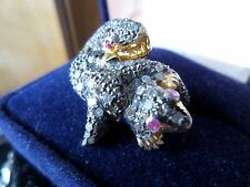 Snake Frog Diamond Ruby Eyes Sterling Siver 24k Gold Overlay Ring Size 8