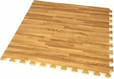 24 Mat Interlocking Dark Wood Soft Foam Exercise Floor Gym Office Cover 96 Sq Ft