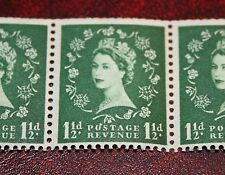 SG542 QEII :S26q 1 1/2d Edward crown : flaw over O of POSTAGE : coil strip of 3