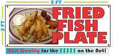 Full Color FRIED FISH PLATE BANNER Sign NEW Larger Size Best Quality for the $$$