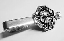 CELTIC Skull German Iron Cross Harley Biker Military Suit Work Tie Bar Clip