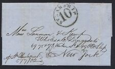 """US JAMAICA 1862 FOLDED LTR FROM THE """"JAMAICA GUARDIAN"""" NEWSPAPER POSTED AT SEA"""