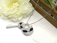 ConMiGo Silver crystal embellished black stone wild cat charm necklace