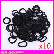 10x Soft Cotton Hair bands Elastic Hair Ties Rope Ponytail Holder in Black