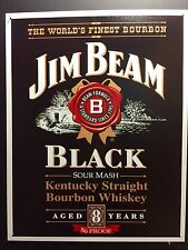 Jim Beam Black Whiskey TIN SIGN Vtg LabeL Logo Home Bar Wall Decor Pub