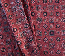 Desert Fabric from India Hand-Printed Ajrakh Traditional Cotton 2½ Yards Red