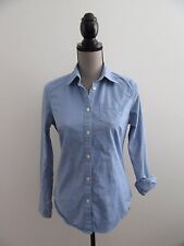 AMERICAN EAGLE OUTFITTERS Blue Jean Long Sleeve Button Down Shirt Sz S