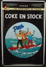Plaque decorative metal sign Tintin et Milou, Snowy 20x30 - Coke en stock