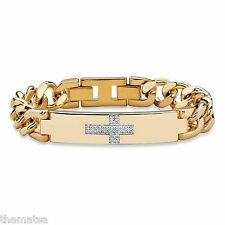 "MENS 14K GOLD WHITE DIAMOND CROSS 9"" CURB LINK BRACELET  GP"