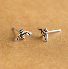 925 Sterling Silver Bumble Honey Bee Stud Earrings Insect Cartilage Helix Post