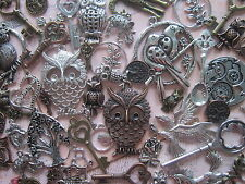 60 x mixed antique silver copper bronze charms pendants steampunk vintage 215 gr