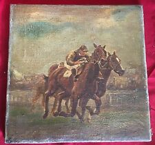 Antique Late 19th Century Oil On Canvas Painting Of A Horse Racing Scene