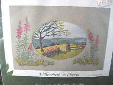 ROWANDEAN Embroidery Kit ENGLAND -  WILLOWHERB ON CHEVIN Landscape Hills Flowers