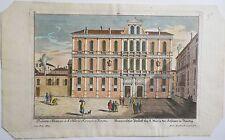 Rare Eau-forte Venise Palazzo RUZZINI 18e s. Martin Engelbrecht graveur couleur