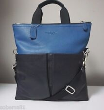 Coach Foldover Smooth Leather Crossboby Tote Bag in Midnight Denim/Navy F71722