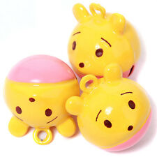 5x New Yellow&Pink Cartoon Bear Head Shape Brass Jingle Bells Christmas Charms D