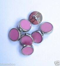 5 x dress shirt buttons PALE PINK with silver trim shank on back 8mm
