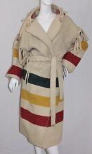 Vintage WOOLRICH Hudson Bay Hooded Fringe Blanket Wool Belted Jacket Coat L