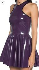Black Milk Clothing Cosmic Cyber Grape Dress Purple PVC Medium M