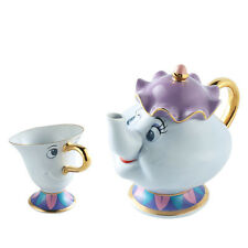 [1 Pot +1 Cup] Beauty and The Beast Tea Set Mrs Potts Teapot Chip Cup Xmas Gift