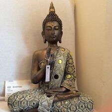 Large Beautifully Detailed Buddhas Statue. Adorned In CITRINE Swarovski Elements