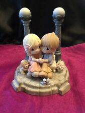 SALE! Precious Moments Couple Sitting On Bench Between Lamppost 143027 Ltd Edit.