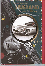 To My Special Husband On Your Birthday Card. Sports Car. 3 Fold Card.