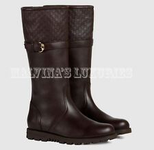 $1,195 GUCCI BOOTS BROWN LEATHER WITH FUR LINING & GUCCISSIMA DETAIL sz 38G / 8