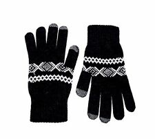 new men's Glen Lossie Lambswool Scarf Gloves black one size (F375)