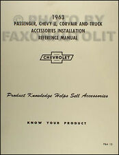 1963 Nova Chevy II Corvair Car Truck Accessory Installation Manual 63 Chevrolet