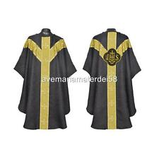 Black Gothic Chasuble Set Lined & Stole, Maniple, Chalice Veil, Burse, Latin