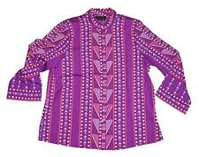 New NWT Bob Mackie Shirt Top Blouse Marquetry Print Purple Mandarin Collar M