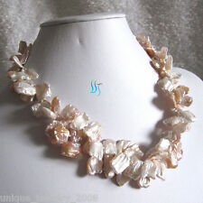 "18"" 9-15mm White Peach Pink 2Row Keshi Freshwater Pearl Necklace"