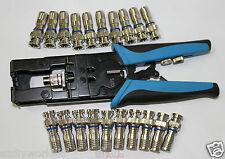 Coax Compression Connector Adjustable Tool (RG59 RG6 F BNC RCA )&20pcs connector