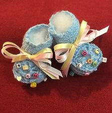 Baby/Doll 0-3mo  color choice Crib Shoes Crochet Christening~Baptism~Reborn