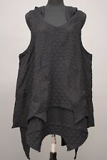 PRISA DESIGNS ARTSY ASYM SLEEVELESS HOODED TUNIC VESTOVER TOP BLACK Sz 1 $338