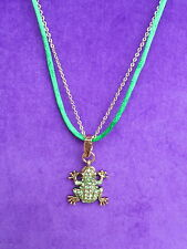Betsey Johnson Authentic NWT Gold-Tone Pave Crystal Frog Pendant Necklace
