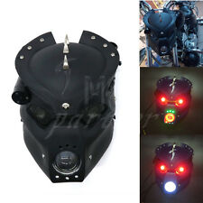 Black LED Skull Headlight Lamp With Mount Bracket For Harley Honda Yamaha Suzuki