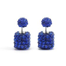 ZARA ELEGANT BLUE RHINESTONES CUBE STUDS CAN BE WORN EACH SIDE AS A FRONT - NEW