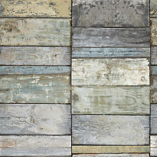 Ideco Home Wood Block Teal and Blue Wood Panel Wallpaper A10502