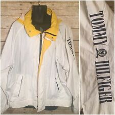 Vintage 90's White Tommy Hilfiger Spell-out Embroidered Nylon Hooded Jacket XXL