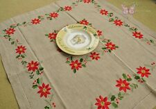 """Lovely Deep Beige Embroidered Christmas Linen Tablecloth Poinsettias 29X33"""""""