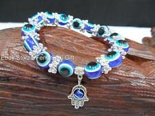 BLUE Evil Eye Bead Feng Shui Protection Good Luck Bracelet Jewelry Turkish Hand