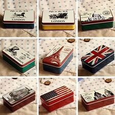 Retro UK Flag London Bus Stationery Iron Tin Storage Small Gift Jewelry Box Case