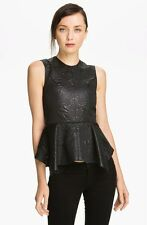 ELIZABETH AND JAMES Yumi Black Embossed Metallic Shiny Brocade Peplum Tank Top S