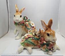 Fitz & Floyd Woodland Pair of Easter Bunny Rabbits with babies & flowers