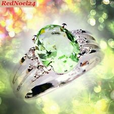 VOVACIOUS FIT SUBLIMATIC GREEN & WHITE TOPAZ S925 STAMPED RING SIZE 7.5 (O)