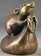 Chinese Old Brass Handwork Hammered Mouse Exorcist God Of Wealth Statue